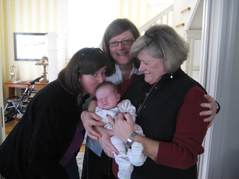 Jackie with Sarah Burns, Katie, and Nana